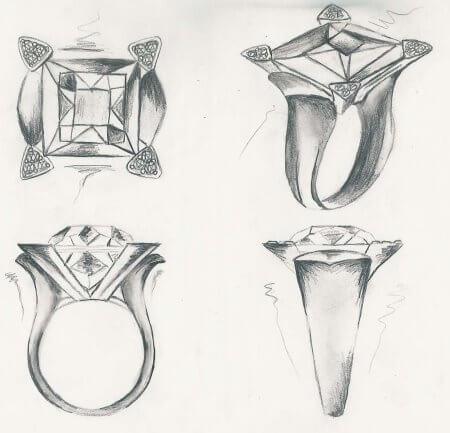 首饰设计素描手绘图片