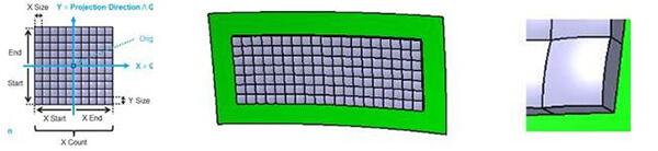 透過輸入切割數量和大小,可以在依附面上建構透明的矩形光學結構
