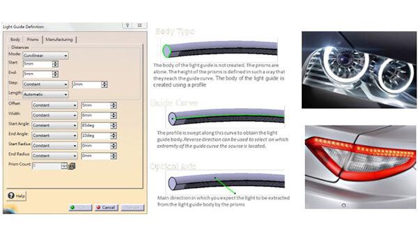 導光條的功能讓使用者可以運用參數來控制我們的V型結構。導光條可以沿著曲面長出實體結構,並且依照使用者輸入的光軸方向改變分佈角度。大幅加快調整導光條VCUT角度與發光均勻性的時間。應用於車用的裝飾燈、晝行燈等。